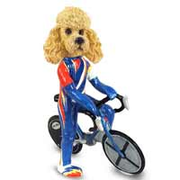 Poodle Apricot Bicycle Doogie Collectable Figurine