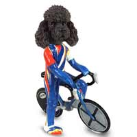 Poodle Black w/Sport Cut Bicycle Doogie Collectable Figurine