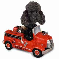 Poodle Black w/Sport Cut Fire Engine Doogie Collectable Figurine