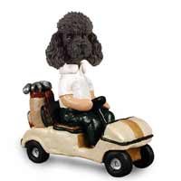 Poodle Black w/Sport Cut Golf Cart Doogie Collectable Figurine