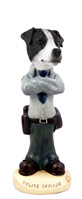 Jack Russell Terrier Black & White w/Smooth Coat Police Doogie Collectable Figurine