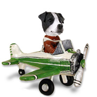 Jack Russell Terrier Black & White w/Smooth Coat Airplane Doogie Collectable Figurine