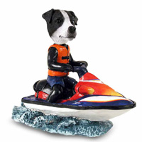 Jack Russell Terrier Black & White w/Smooth Coat Jet Ski Doogie Collectable Figurine