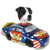 Jack Russell Terrier Black & White w/Smooth Coat Race Car Doogie Collectable Figurine