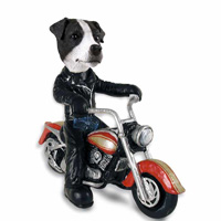 Jack Russell Terrier Black & White w/Smooth Coat Motorcycle Doogie Collectable Figurine