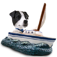 Jack Russell Terrier Black & White w/Smooth Coat Sailboat Doogie Collectable Figurine