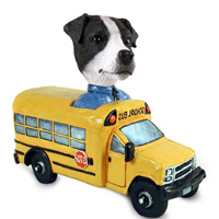 Jack Russell Terrier Black & White w/Smooth Coat School Bus Doogie Collectable Figurine