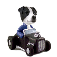 Jack Russell Terrier Black & White w/Smooth Coat Hot Rod Doogie Collectable Figurine