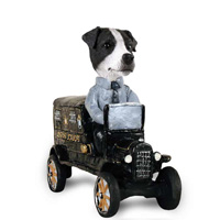 Jack Russell Terrier Black & White w/Smooth Coat Paddy Wagon Doogie Collectable Figurine