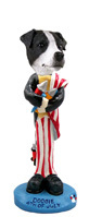 Jack Russell Terrier Black & White w/Smooth Coat 4th of July Doogie Collectable Figurine