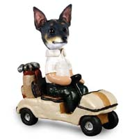 Rat Terrier Golf Cart Doogie Collectable Figurine