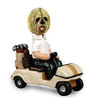Lhasa Apso Blonde Golf Cart Doogie Collectable Figurine