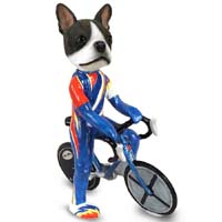 Boston Terrier Bicycle Doogie Collectable Figurine