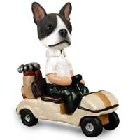 Boston Terrier Golf Cart Doogie Collectable Figurine