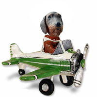 Wire Haired Dachshund Airplane Doogie Collectable Figurine