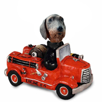 Wire Haired Dachshund Fire Engine Doogie Collectable Figurine