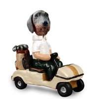 Wire Haired Dachshund Golf Cart Doogie Collectable Figurine