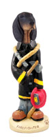 Coonhound Black & Tan Fireman Doogie Collectable Figurine