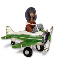 Coonhound Black & Tan Airplane Doogie Collectable Figurine