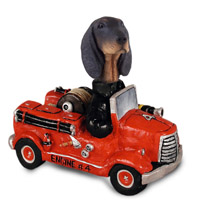 Coonhound Black & Tan Fire Engine Doogie Collectable Figurine