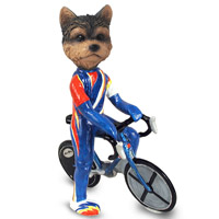 Yorkshire Terrier Puppy Cut Bicycle Doogie Collectable Figurine