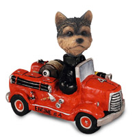 Yorkshire Terrier Puppy Cut Fire Engine Doogie Collectable Figurine