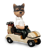 Yorkshire Terrier Puppy Cut Golf Cart Doogie Collectable Figurine