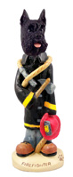 Schnauzer Black Fireman Doogie Collectable Figurine