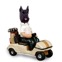 Schnauzer Black Golf Cart Doogie Collectable Figurine