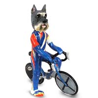 Schnauzer Gray Bicycle Doogie Collectable Figurine