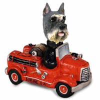 Schnauzer Gray Fire Engine Doogie Collectable Figurine