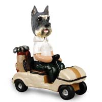 Schnauzer Gray Golf Cart Doogie Collectable Figurine