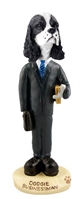 Cocker Spaniel Black & White Businessman Doogie Collectable Figurine