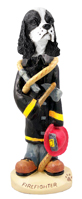Cocker Spaniel Black & White Fireman Doogie Collectable Figurine