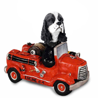 Cocker Spaniel Black & White Fire Engine Doogie Collectable Figurine