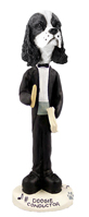 Cocker Spaniel Black & White Conductor Doogie Collectable Figurine