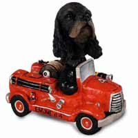 Cocker Spaniel Black & Tan Fire Engine Doogie Collectable Figurine