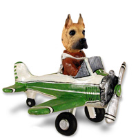 Great Dane Fawn Airplane Doogie Collectable Figurine