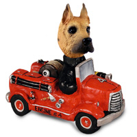 Great Dane Fawn Fire Engine Doogie Collectable Figurine