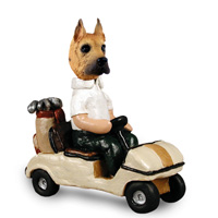 Great Dane Fawn Golf Cart Doogie Collectable Figurine