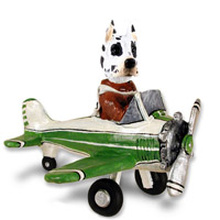 Great Dane Harlequin Airplane Doogie Collectable Figurine
