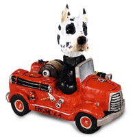 Great Dane Harlequin Fire Engine Doogie Collectable Figurine
