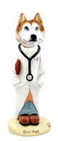 Husky Red & White w/Blue Eyes Doctor Doogie Collectable Figurine