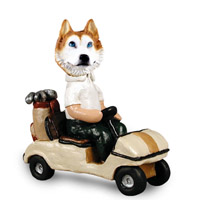Husky Red & White w/Blue Eyes Golf Cart Doogie Collectable Figurine