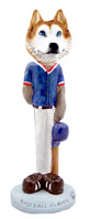 Husky Red & White w/Blue Eyes Baseball Doogie Collectable Figurine