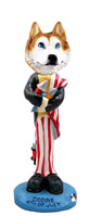 Husky Red & White w/Blue Eyes 4th of July Doogie Collectable Figurine