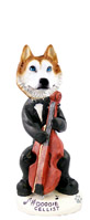 Husky Red & White w/Blue Eyes Cellist Doogie Collectable Figurine