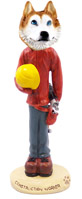 Husky Red & White w/Blue Eyes Construction Worker Doogie Collectable Figurine