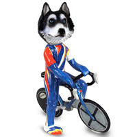 Husky Black & White w/Blue Eyes Bicycle Doogie Collectable Figurine