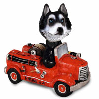 Husky Black & White w/Blue Eyes Fire Engine Doogie Collectable Figurine